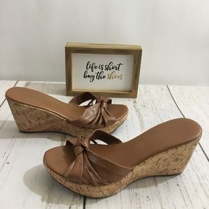 🥳HP🥳Cathy Jean Tan Wedge Sandals Size 7